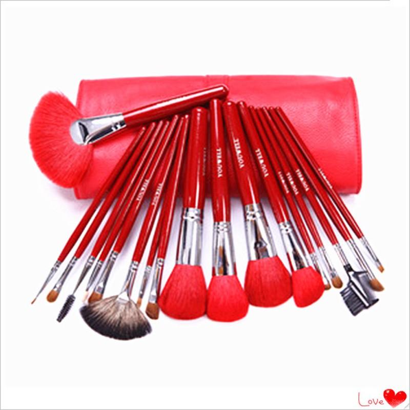 21pcs wood handle red Kolinsky sable hair quality makeup brush set with makeup brush case kits