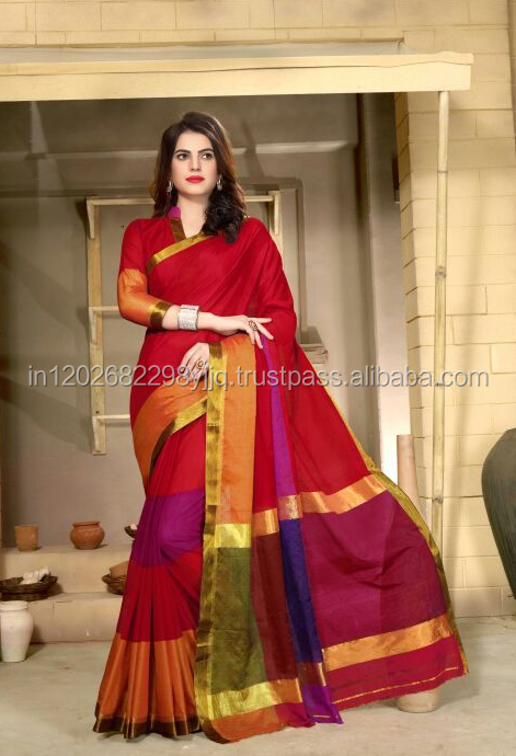 Designer printed cotton silk casualwear saree