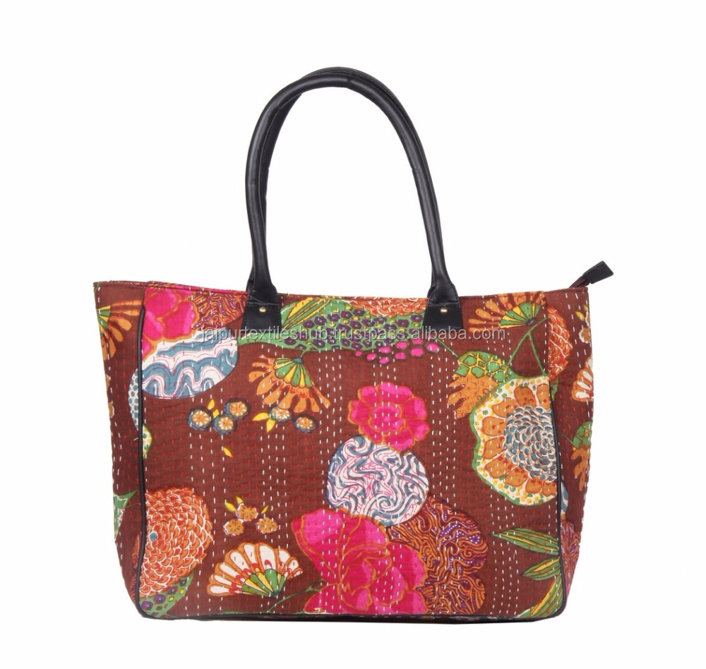 tropicana kantha work hand quilted handbag ladies shoulder bags