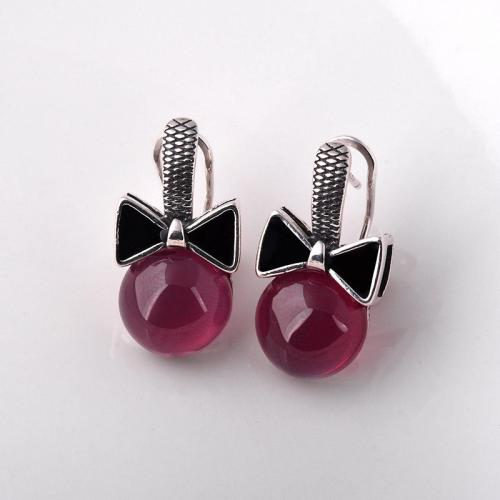Natural gemstone precious stone solitaire Earrings Thailand with Ruby