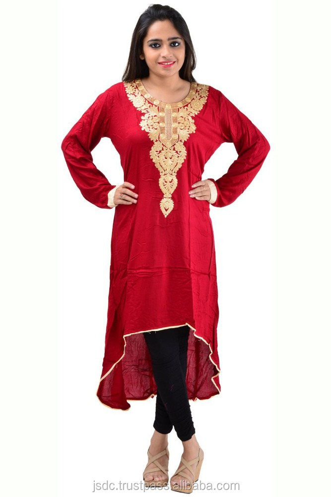 Pretty Maroon Color Rayon Neck Embroidery Design Fancy Kurti