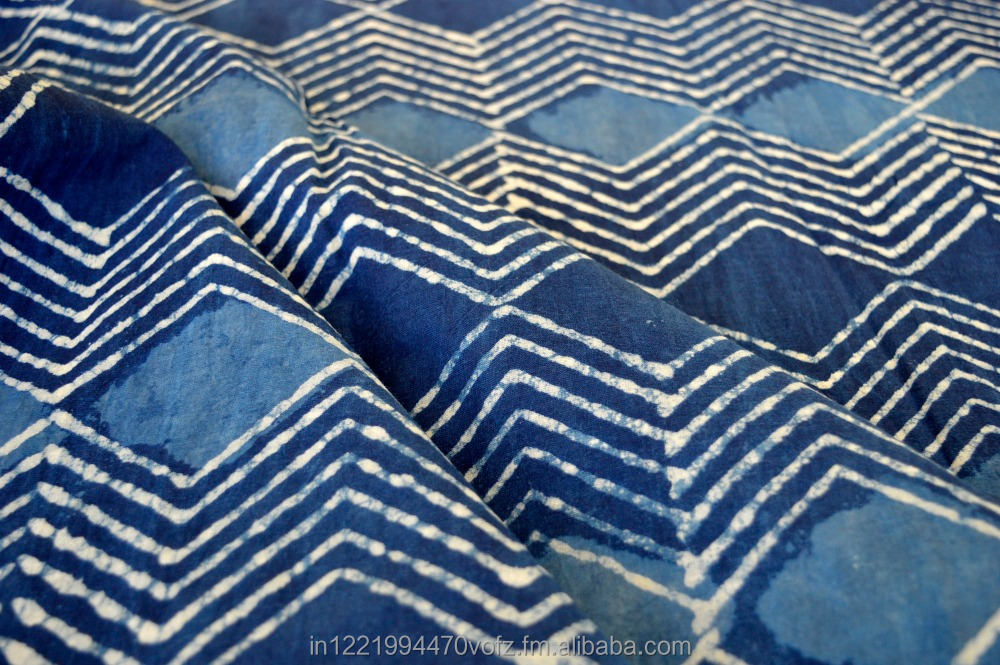 MANUFACTURER INDIAN BLOCK PRINT INDIGO COTTON PRINTED FABRIC