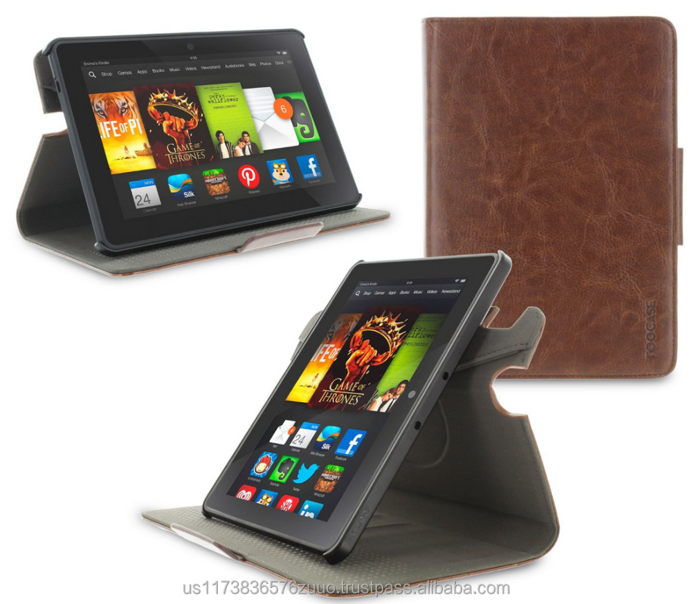 Top Quality roocase ORB 360 Rotating Folio Leather Cover Sleep/Wake Feature for Kindle Fire HDX 7 2013 case Wholesale (Brown)