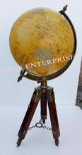Rotating World Map Globe with Tripod Wooden Stand