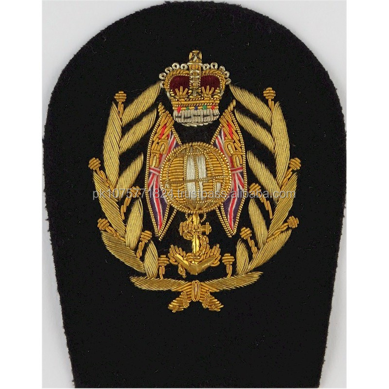 hand embroidery badges Royal Marines Colour Sergeant Rank Badge Globe Flags Laurels Queen's Crown. Bullion wire-embroidered Mari