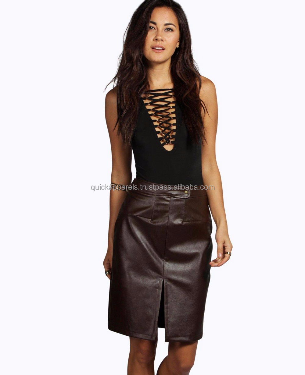 new girls ladies' fashion dress leather skirt