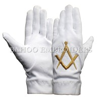 White Cotton Masonic Gloves with Embroidered Logo