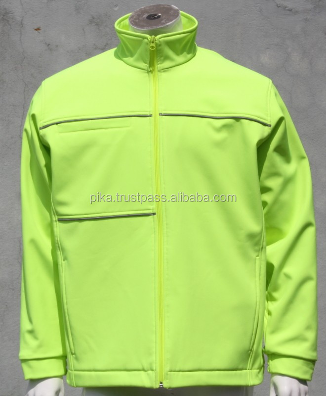 Hi Viz Lime Yellow Fluorescent Polyester windprood water proof softshell Jackets