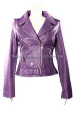 Purple Wax Leather Ladies fashion Jacket, Purple,Yellow Leather Rider Women jacket, OEM/ODM Customize Ladies Motorycle Garments