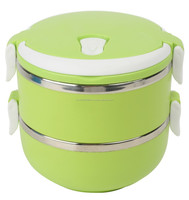 HOU1505 2- Tier Stainless Steel Lunch Box Green
