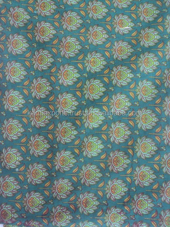 Green color screen printed latest fabric / Viscose traditional design printed best fabric