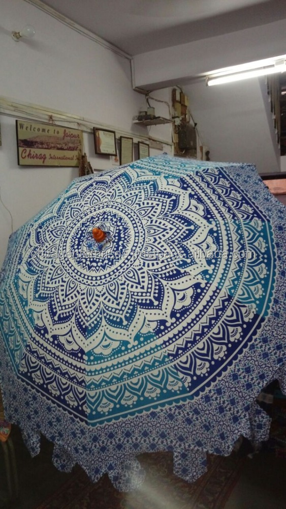 Indian Hand Block Printed Mandala Round Roundie Tapestry Decorative Large Garden Umbrella's