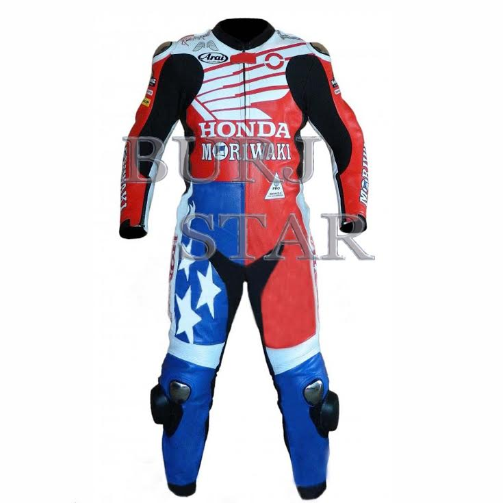 Motorbike Leather Racing Suit , Full Safety Motorcycle Leather Suit - Cowhide Leather