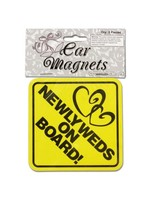 Newlyweds On Board Car Magnets, Set Of 2