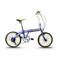 "GARION 20"" Folding Bike Foldable Bicycle Matte Blue with Green"