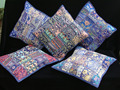 "Indian Blue TOSS PILLOW CUSHION COVER EMBROIDERED Gift India COLORFUL Decor THROW Art 16"" vintage Home Decor"