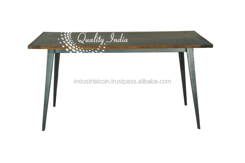 Wooden Top And Metallic Base Coffee Table