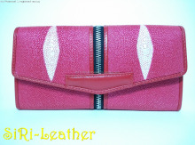 stingray skin ladies handbag&wallet (red-pink) handmade OTOP thailand