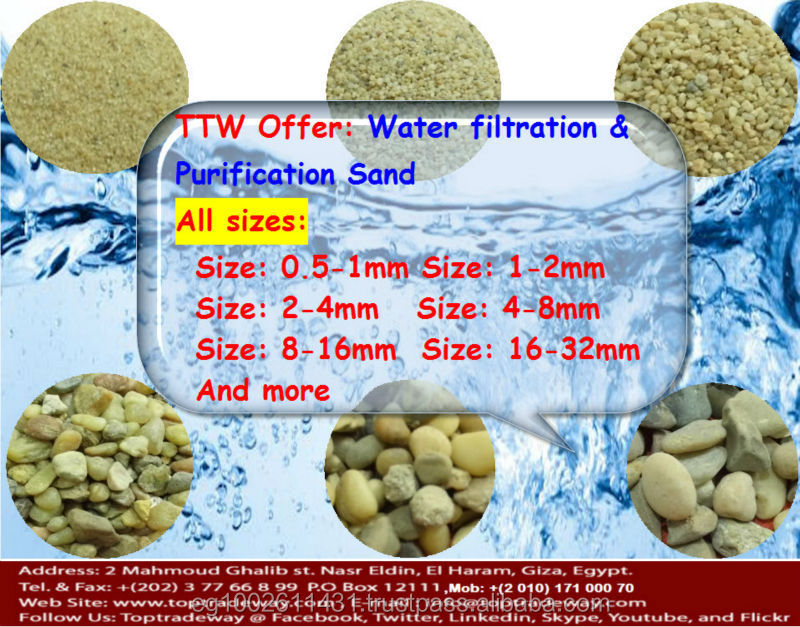 Filtration Sand for multiple layers with a variety size and specific gravity