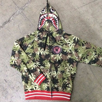 Mens Urban SEEDLESS Hoodie Bomber Shark MJ Weed Leaf Print Jacket Med NWT HoodMens Urban SEEDLESS Hoodie Bomber Shark MJ Weed Le