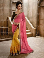 Indian Model Pink & Yellow Chiffon & Georgette Designer Saree