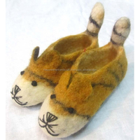 Felt Tiger With Tail Shoes Felted
