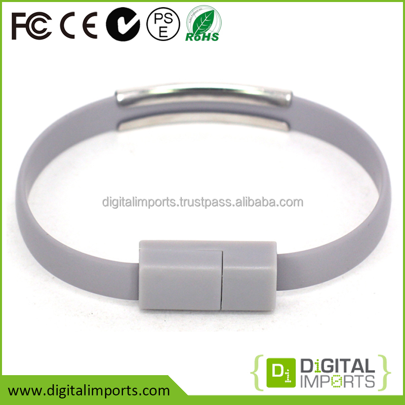 Hot selling unique oem custom bracelet shape low profile usb to micro usb cable with i-Phone 5/5S/6/6S or Android