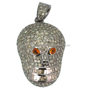 925 Silver Gemstone Halloween Jewelry Pave Diamond Skull Pendant