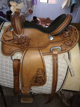 Genuine Leather Barrel Racing Western Horse Saddle Wooden Tree
