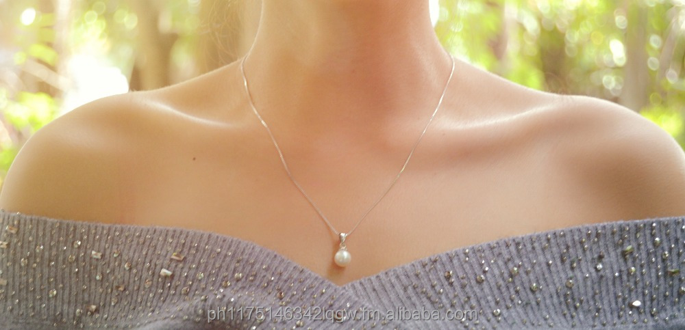 Simple but Elegant Single Round Pearl Necklace, Genuine 925 Sterling Silver Chain, No Minimum Order