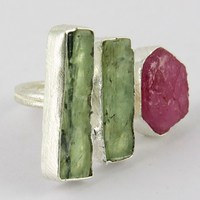 Blooming Garden !! Ruby_Prehnite 925 Sterling Silver Ring, Exclusive Designs Silver Jewelry, Antique Silver Jewelry