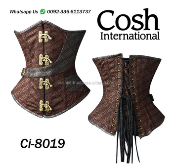 Ci-8019 Brown Cotton And Leather Steelboned Waist Training Corset Supplier
