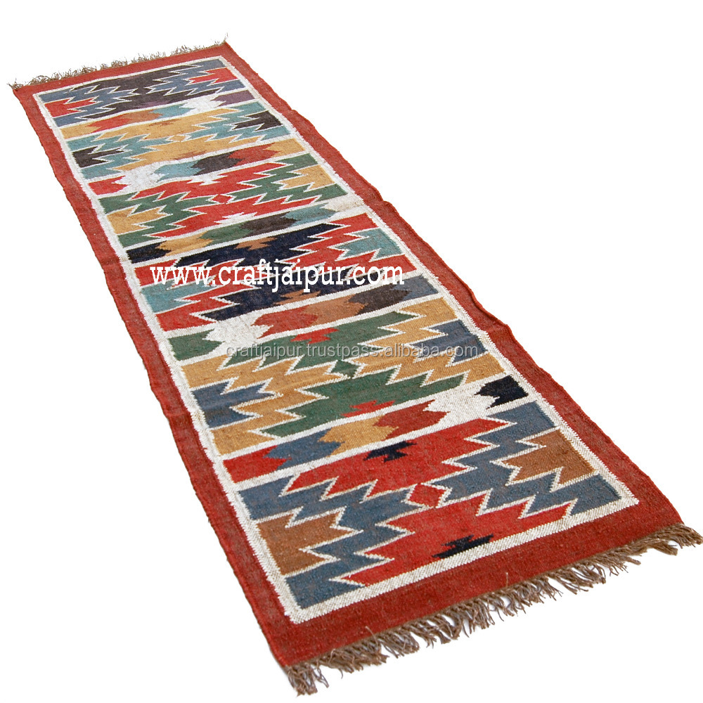 Handmade Rugs and Carpet Natural Colour Wool Jute India Traditional With Lurix and Matellic New Reversiable Rug Runners