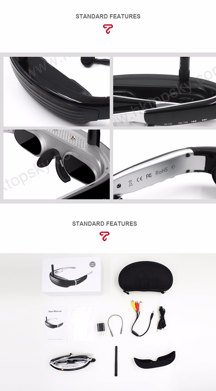 40 channel 5.8Ghz FPV video glasses DVD Goggles Eyewear Glasses