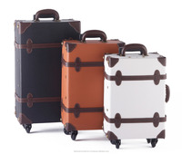 pu luggage case carry luggage Japan classical design wholesale vintage style PVC leather trolley luggage suitcase on wheels