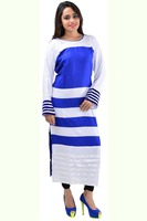 Charming White And Blue Color Rayon Long Anarkali Kurti