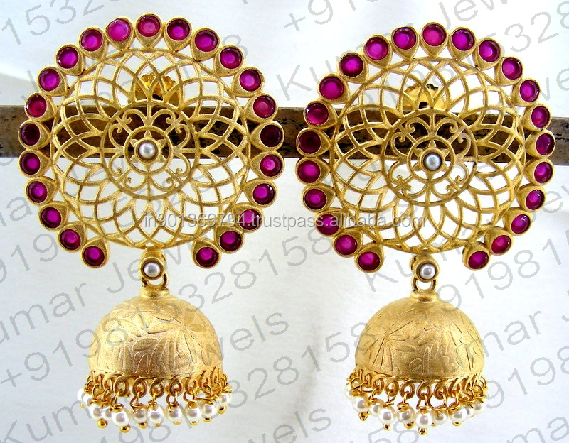 Big Round Golden Filigree Work Pearl Beaded Jhumka Ruby Color Stone New Design Mughal Ethnic Style Earrings