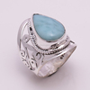 Solid 925 Silver Ring Larimar Jewelry