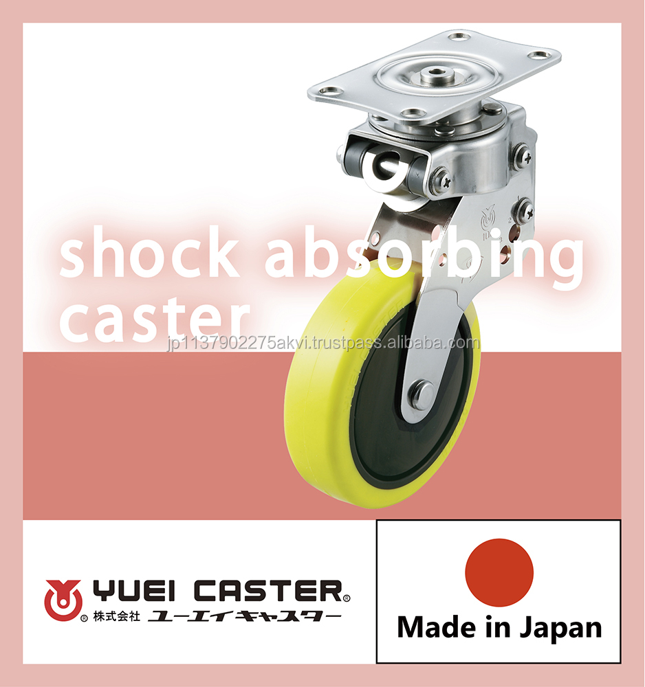 Reliable 4inch shock absorbing caster with brake with multiple functions made in Japan