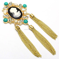 22 Carat Gold Plated Victoria Lady With Chatons,Turquise And 3Tassels Statement Handmade Necklace