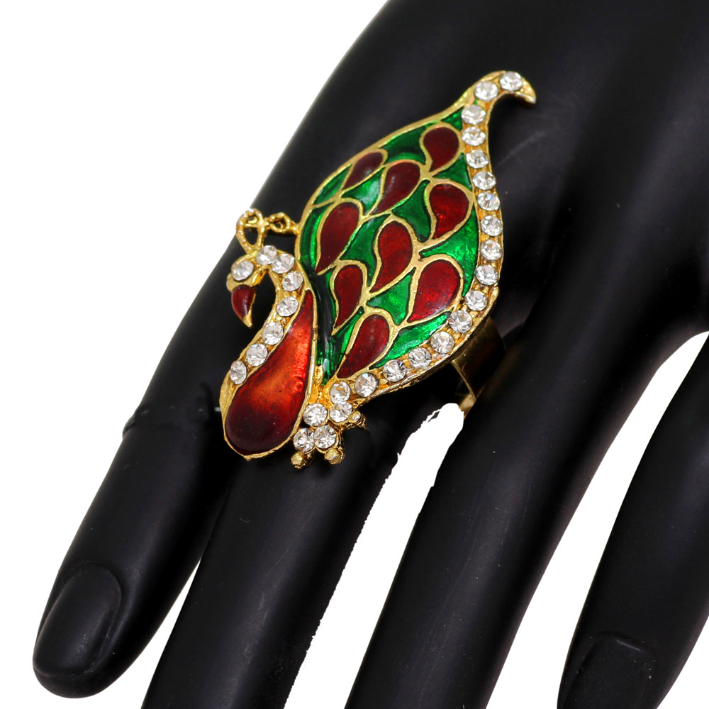 Wholesale Modern Fashionable Meena Work Peacock Ring