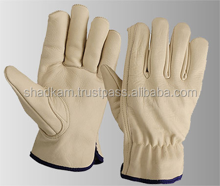 Natural Sheepskin Leather Driver Safety Gloves