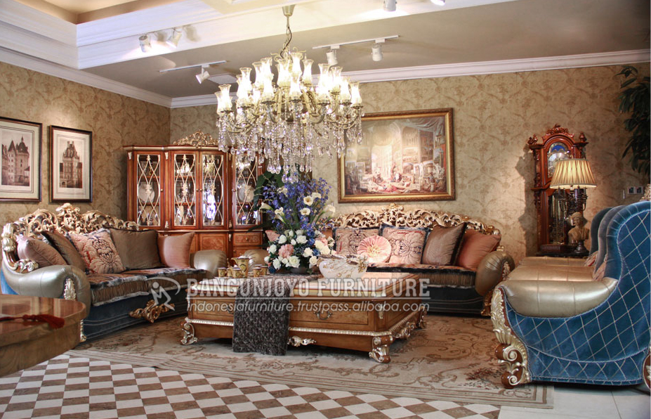 Solid wooden luxury hand carved royal designs chesterfield sofa set