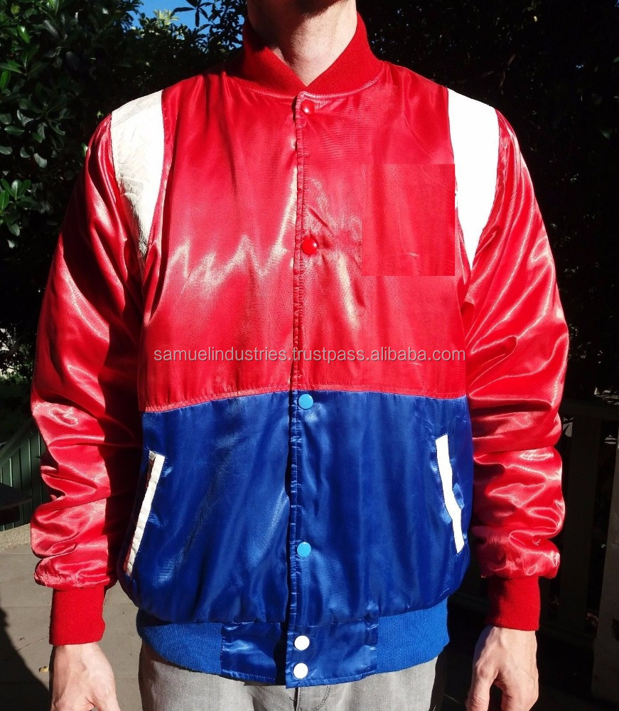 Latest cheap Red\blue color baseball varsity jacket\Satin bomber jacket in comfort fabric for autumn\ltralight bomber jacket