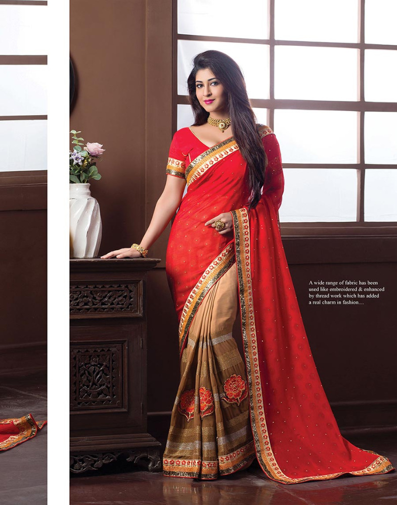 Heavy Embroidered Georgette Designer Partywear Saree with Contrast Blouse Piece double color designer saree