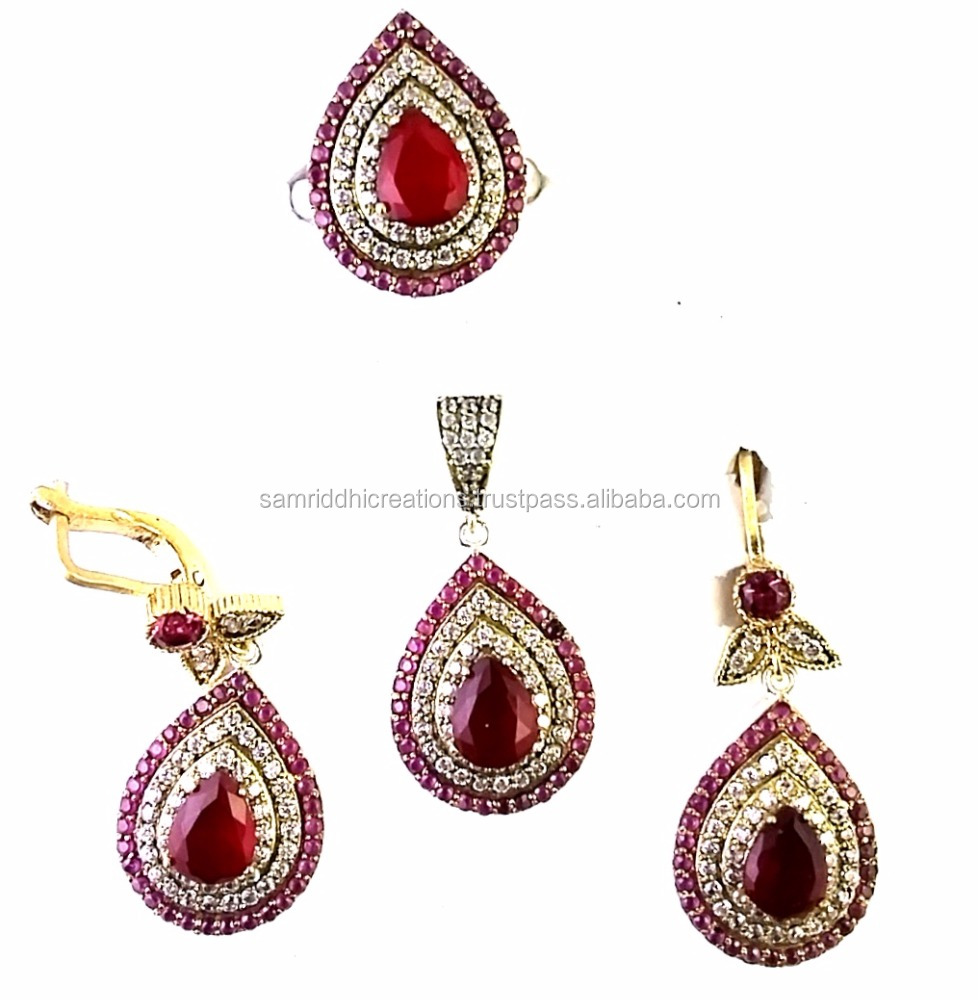 RAVISHING TURKISH STYLE VINTAGE 925 SOLID STERLING SILVER 4 PCS PENDANT SET WITH RUSSIAN LOCK, ANTIQUE STYLE JEWELRY/JEWELLERY