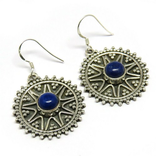 Perfect Blue !! Lapis 925 Sterling Silver Hook Earring, Extreme Fabulous Designs Silver Jewelry, Indian Jewelry Manufacturer
