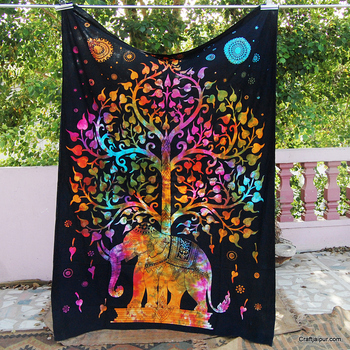 Multi elephant cotton tapestry handmade wholesale christmas decor wall hanging