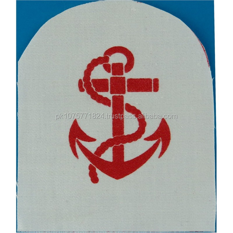 WOVEN BADGES QARNNS Leading Rate Rank Badge Red On White Printed Naval Branch, rank or miscellaneous