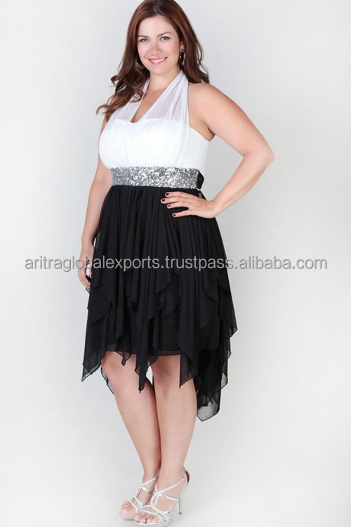 Plus Size Illusion Halter Dress With Sequins And High Low Hanky Hem Ruffled